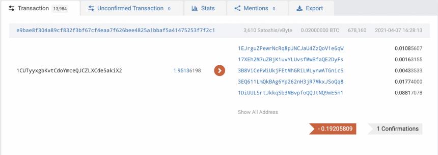 Instantánea de una transacción en vivo en la red Bitcoin. Fuente: BTC.com
